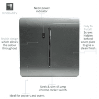 Trendi Artistic Modern Glossy 45 A Cooker Tactile Light Switch & Neon Insert Silver ART-WHS2SI